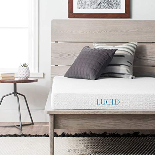 LUCID 5 Inch Gel Memory Foam Dual-Layered-CertiPUR-US Certified-Firm Feel Mattress, Full, White