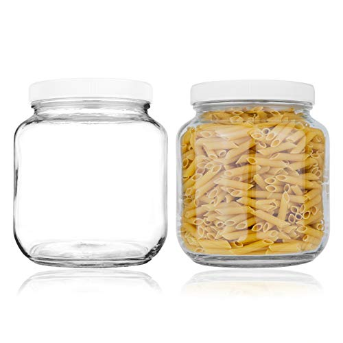2 Pack Half Gallon Mason Jar - Glass Jar Wide Mouth with Airtight Foam Lined Plastic Lid - Safe Mason Jar for Fermenting Kombucha Kefir - Pickling, Storing and Canning - By Kitchentoolz