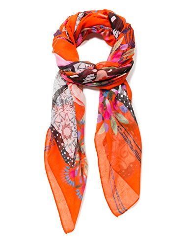 Desigual Rectangle Foulard MENSAJE Woman Orange Echarpe, Sunset 7026, Unique (Taille Fabricant: U) Femme
