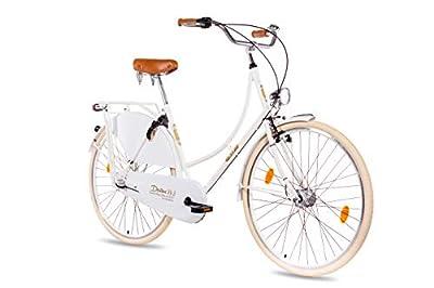 KCP 28 Zoll Citybike Damen Hollandrad - Deritus N3 weiss - Damen-City-Fahrrad mit Shimano Nexus 3 Gang Nabenschaltung und Shimano Nabendynamo, Vintage Damenfahrrad mit Rücktrittbremse und Gepäckträger