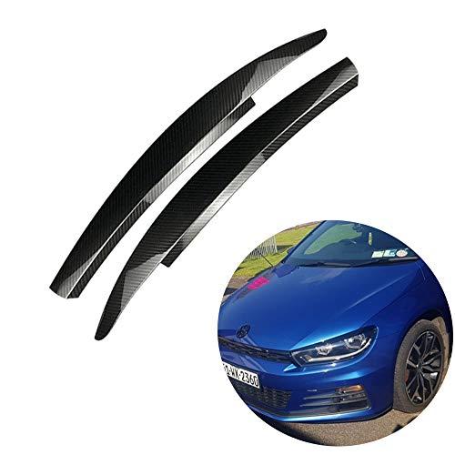 QQKLP Passend für VW Scirocco GTS 2008 2009-2017 Auto-Scheinwerfer-Augenbraue-Aufkleber-Dekoration,Carbon Fiber
