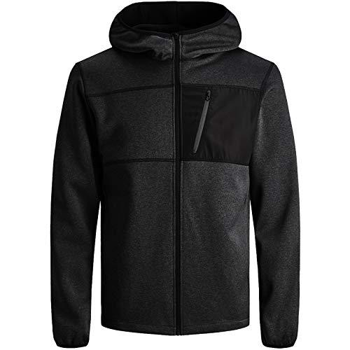 JACK & JONES Herren Jacke Fleece Sweat Softshell Übergang Jacket (S, Schwarz)