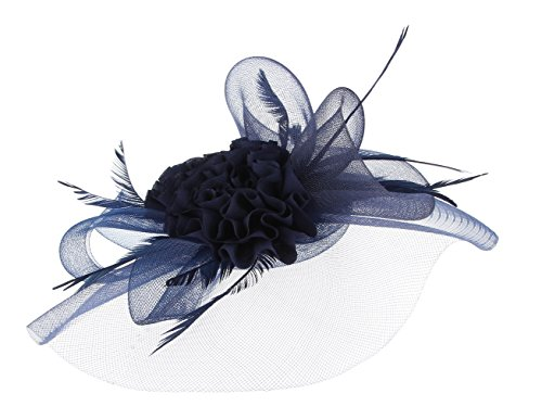 EOZY Mujer Tocado de Boda con Pelo Pluma Gasa Sombrero Vintage Azul Oscuro