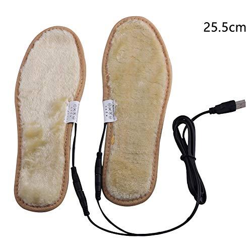 XHXseller 1 Paar Heizeinlagen USB beheizte Einlegesohlen, elektrisch betriebene Heizung Schuhe, warme Socken, Füße Heizung, Füße, Wärme, Pads, Unisex wiederaufladbar, Wie abgebildet, 25.5