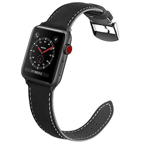 Yierya Kompatibel für Apple Watch Armband 42mm 44mm Leder,Echtleder iWatch Straps Ersatz Lederarmband 42mm 44mm für Apple Watch Series 5 4 3 2 1 (42 44, schwarz)