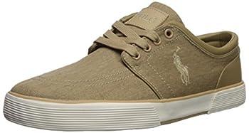 Polo Ralph Lauren Men's Faxon Low Sneaker, Morgan Tan Washed Twill, 14 D US