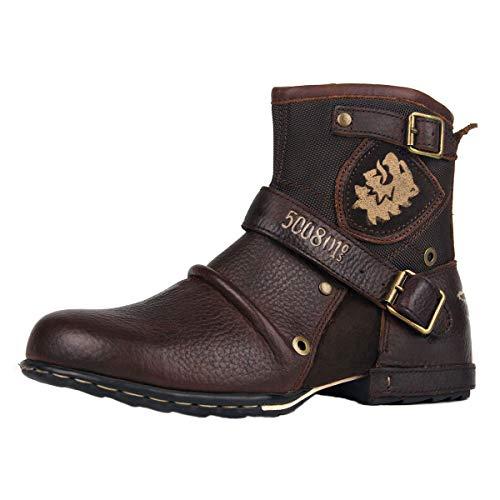OSSTONE Herren Leder chukkastiefel Worker Biker Boots-Motorrad-Leder-Schuhe für reißverschluss Schnürstiefeletten Boots 5008-1-N Braun 10