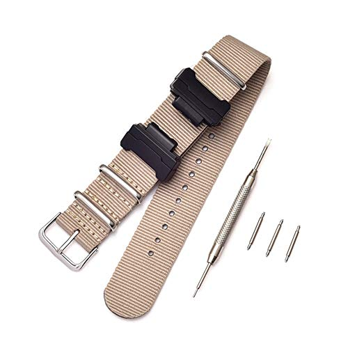 Shieranlee Nato Nylon Cinturino Compatibile con Casio G-Shock GA-110 120 GA-400 GD-100 DW-5600 GLS-8900 Canvas Men Bracelet Band Black Adapters