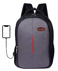 Fur Jaden 15.6 Inch Laptop Backpack 25 LTR Bag for School, College and Office with USB Charging Port,FUR JADEN,BM36_GreyRed