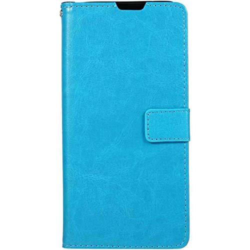 Funda para Galaxy J7Prime 2 On7, color puro, ranuras para tarjetas de crédito, TPU suave + piel sintética para teléfono móvil Samsung Galaxy Nxt LBlue