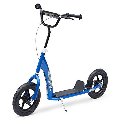 HOMCOM Kinderroller Scooter Tretroller Cityroller Kinder Roller Kickboard 12 Zoll Blau 120 x 52 x 80-88 cm