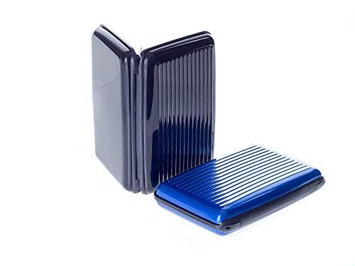 VALLET® 2 Stück Kreditkartenetui aus Aluminium - für Damen und Herren - blockiert RFID – für Kreditkarten Personalausweis EC-Karten - Kartenetui Kartenhülle Karten Portemonnaie Etuis – schwarz & blau