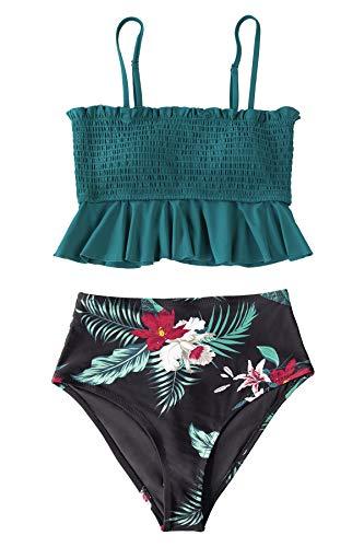 CUPSHE Conjunto de Bikini para Mujer Cintura Alta Estampado Floral Volante Traje de Baño de Dos Piezas, XL