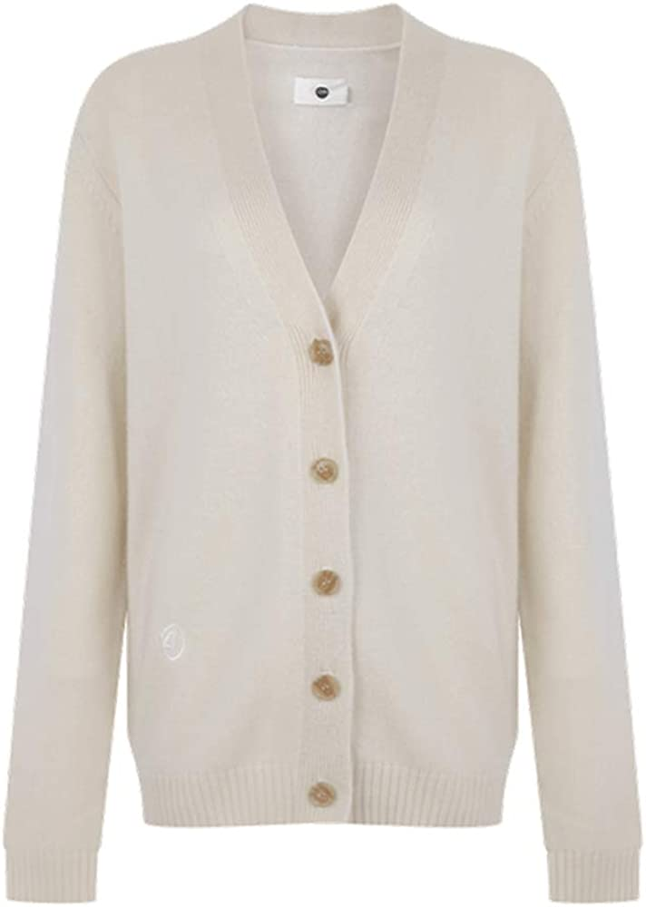 C4N One Side Button Neutral Basic Cashmere Cardigan Classic Style