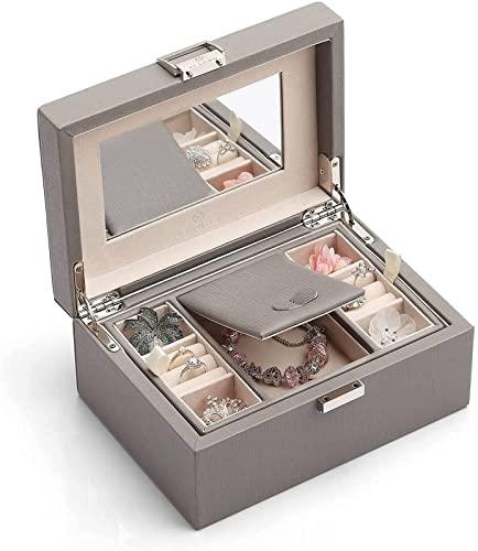 Caja de Almacenamiento Caja de Madera para Joyas, Organizador de Joyas y bandejas de Caja de Almacenamiento para Anillos, Caja de Almacenamiento de Joyas para Pendientes (tamaño: Rosa)