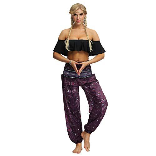RISTHY Pantalones Anchos Mujer Pantalones Harem Tailandes Hippies Vintage Boho Flores Verano Alta Cintura Elastica Casual Danza Yoga Pants Bombachos Playa con Bolsillos