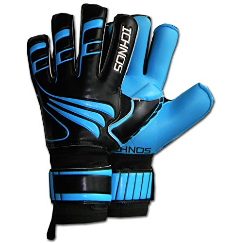 ICHNOS Artemis Neon Voetbal keepershandschoenen met vinger plaatjes Zwart/Blauw