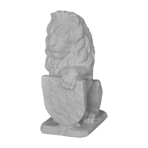 fantasieco! Löwe Wappen Links Statue Garten Deko Steinfigur - Lichtgrau