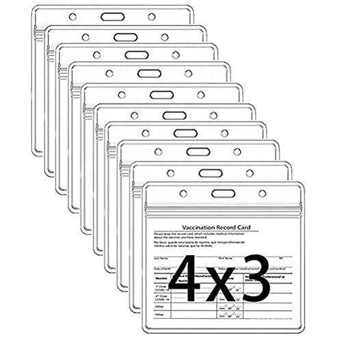 CXJC Vaccinationskort skyddskåpa, transparent PVC vattentätt och återförslutningsbart plasthölje med dragkedja, med rep, används för ID-kort vaccinationskort skydd (1 set med 10)