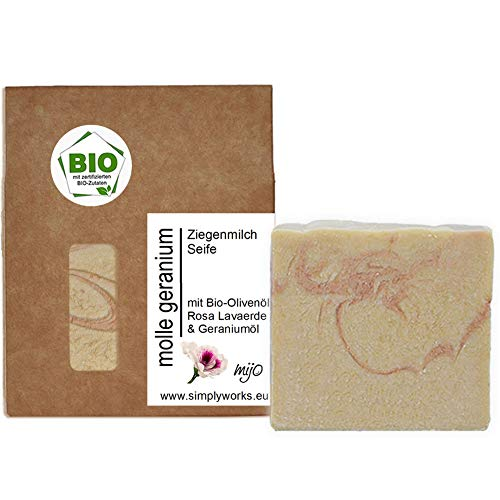 Mijo MOLLE-GERANIUM Ziegenmilchseife handgemachte Gesicht Naturseife mit Bio Olivenöl, Sheabutter, ohne Palmöl ca. 100g