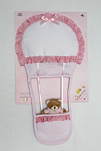 Geboorte lint aan borduurwerk, ballon met roze pop