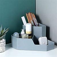 収納ボックスデスクシンプルなスタイルの文房具ジュエリー収納オフィス用化粧品や雑貨収納メイクアップオーガナイザー、丈夫で耐久性があります。、グレー