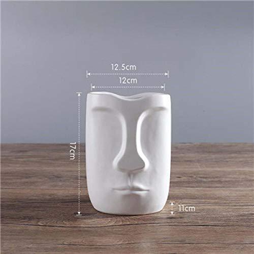 Vase Minimalistische Keramik Abstrakte Vase Schwarz Und Weiß Menschliches Gesicht Kreativer Ausstellungsraum Dekorative Figur Kopfform Vase Weißa-17Cm