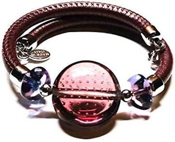 Pulsera Murano de cristal de Murano con elástico de piel, hecha a mano por los maestros Vetrai Muranesi – Fabricada en Italia violeta