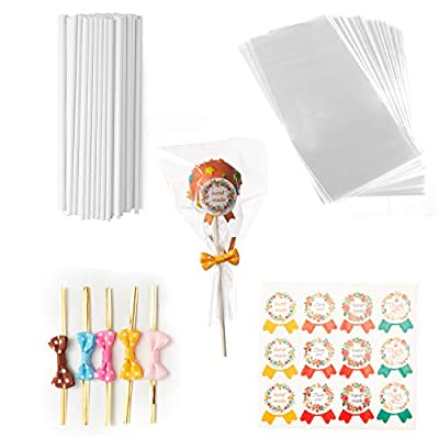 Cake Pop Sticks Making Tools with 100Pcs Lollipop Sticks 6 Inch, 100Pcs Cake Pop Bags 100Pcs Gold Bow Ties Twist in Mix Colors 100Pcs Handmade Label Stickers Package Cake Pop Candy Chocolate(Long) by