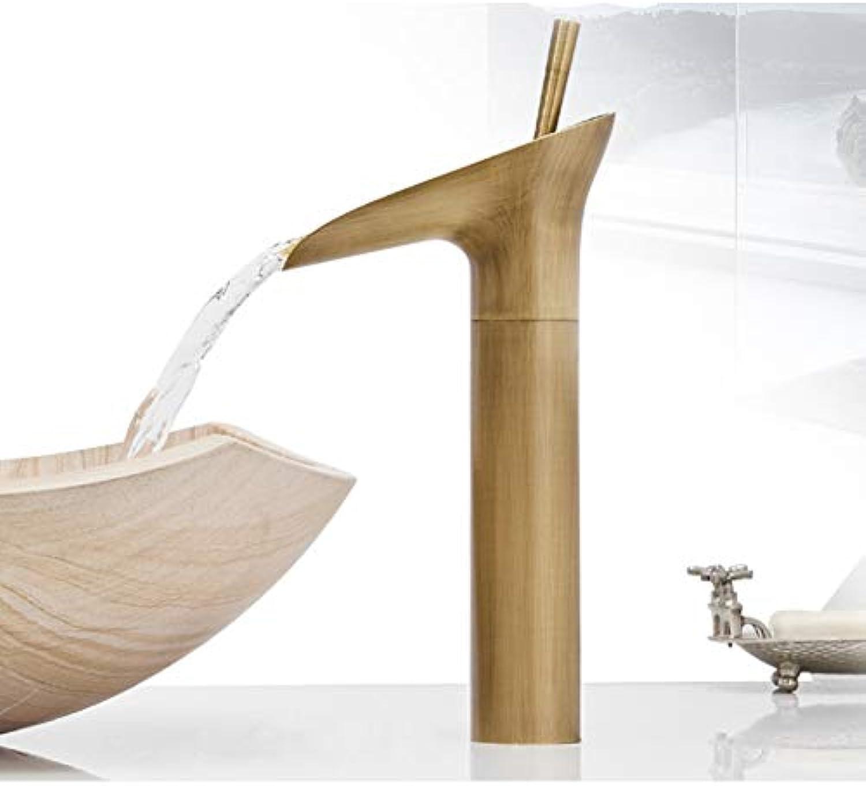 ZHFJGKR&ZL Spültischarmatur Einhebel-Wasserfall-Badezimmer-Bassin-Hahn-Messingantike heie und kalte Badezimmer-Wannen-Mischer Tapss