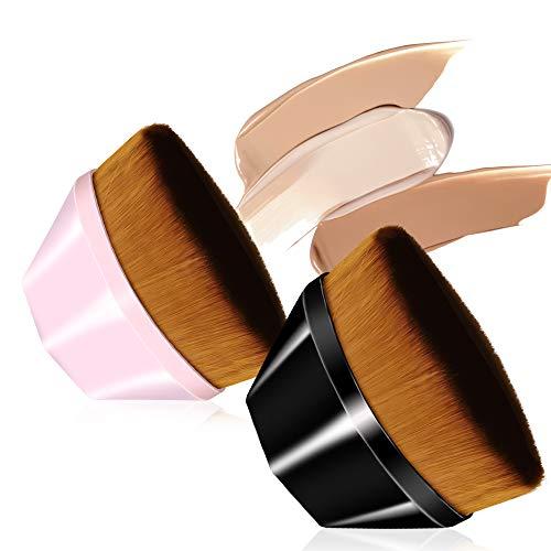 Freeorr 2 Stück Foundation Bürste, Foundation Pinsel Blütenblatt Make-up Pinsel, von Gesichtsrötung Concealer Flüssigpulver, multifunktionale Make-up-Bürste (Schwarz + Pink)