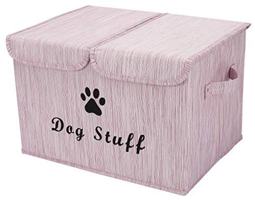 Pethiy Cajas de almacenamiento grandes de tela de lino plegables cubos de almacenamiento contenedores con tapa y asas para ropa de perro y accesorios, juguetes para perros (rosa bamboo)
