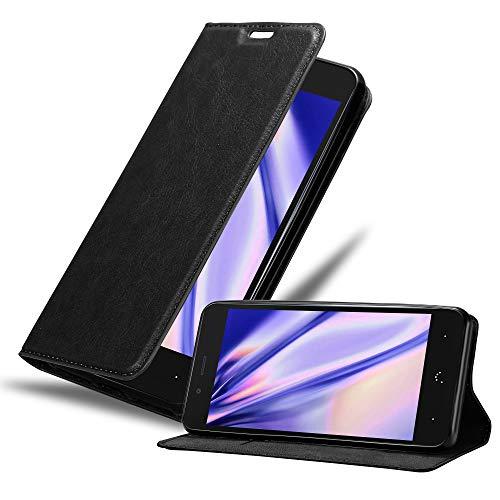 Cadorabo Hülle für BQ Aquaris X5 Plus in Nacht SCHWARZ - Handyhülle mit Magnetverschluss, Standfunktion & Kartenfach - Hülle Cover Schutzhülle Etui Tasche Book Klapp Style