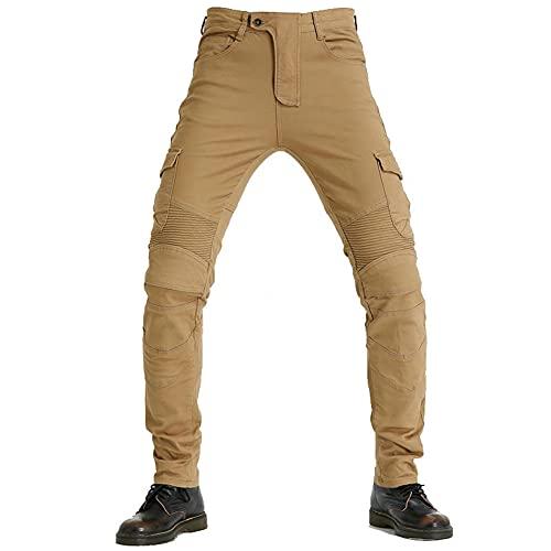 Pantalones vaqueros de montar a caballo para hombre, con almohadillas protectoras desmontables, pantalones de mezclilla motorcross profesionales (Khaki, XS)