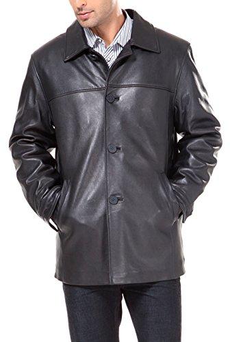 BGSD Men's Samuel New Zealand Lambskin Leather Car Coat Black Large