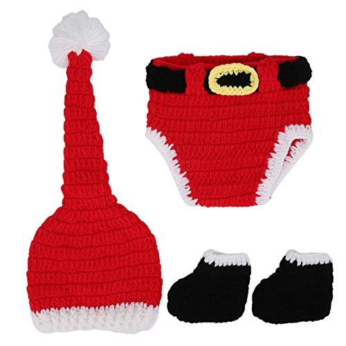 Fdit Disfraz de Navidad para bebé, Ropa para niños pequeños, Accesorios para Fotos, Accesorio para fotografía de bebé, Conjunto de Ropa Hecha a Mano con Estilo navideño