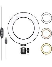 Neewer Led-ringlamp van 15 cm (6 inch) voor YouTube-video's, livestreaming, make-up, desktop, mini-USB-camera, led-licht met 3 lichtmodi en 10 helderheidsniveaus