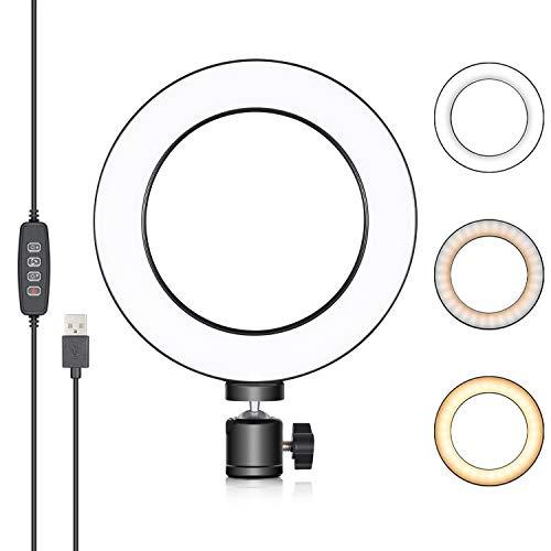 Neewer LED Ringlicht 6 Zoll für YouTube Video,Livestreaming,Makeup,Desktop Mini USB Kamera LED Licht mit 3 Lichtmodi und 11 Helligkeitsstufen