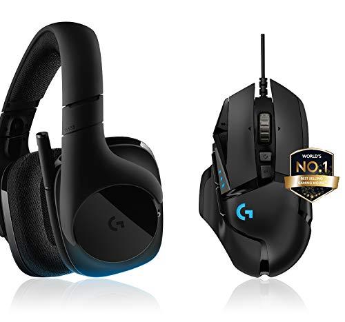 Logitech G533 Wireless Gaming-Headset, 7.1 Surround Sound, DTS Headphone + G502 HERO High-Performance Gaming Maus, HERO 16000 DPI Optischer Sensor, RGB-Beleuchtung, Gewichtstuning