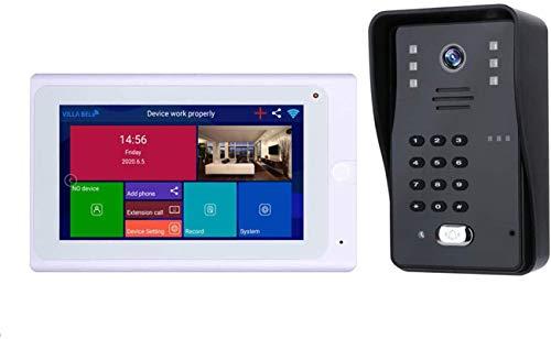 Vidéo Sonnette Sonnette de porte vidéo WiFi sans fil Interphone Système d'interphone 7 * 7 pouces...