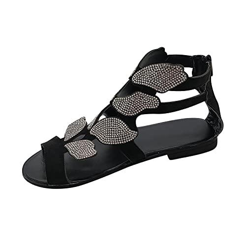 RTPR Sandalias de tacón bajo para mujer, con cristales de estrás, tacón bajo, sandalias abiertas con punta abierta y brillantes, Negro , 40 EU