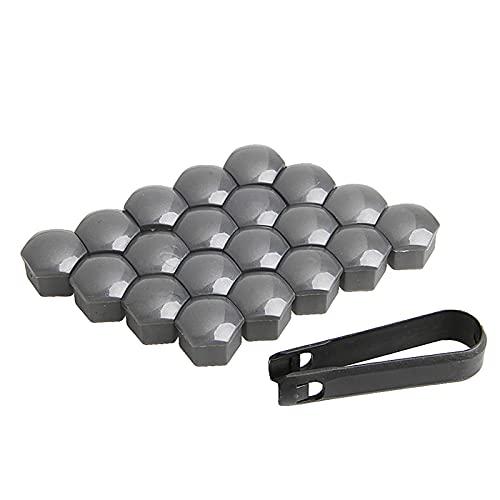 BYWWANG 20 Piezas 17 mm Ruedas de Coche Tuercas de plástico con Herramientas de extracción de Tapa de Rosca Gris, para VW, para Audi