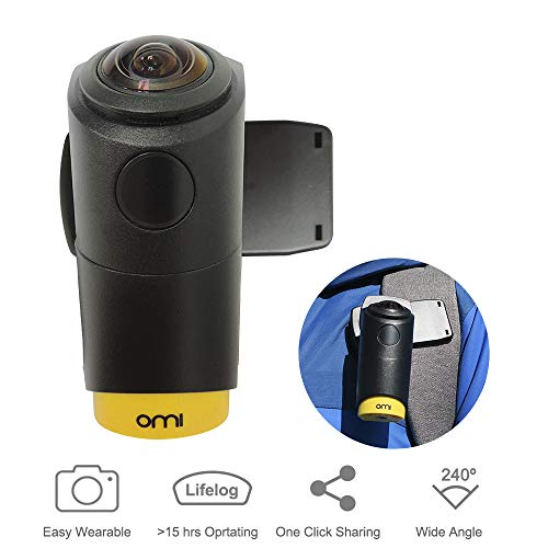 OmiCam II Wearable VR Video Camera 4K—Waterproof Sport Camera with Wider 180vr Stabilization Image for Blogging, Hiking, Traveling, Outdoor Recreation