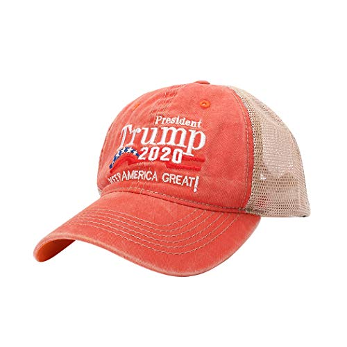 Unisex Donald Trump 2020 Hat & Handheld Banner Flag Printed Keep America Great USA Flag Adjustable Baseball Visor Mesh Cap 4-Orange -  November's Chopin