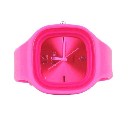Sweet Silicon Band - Reloj cuadrado redondo en color fucsia