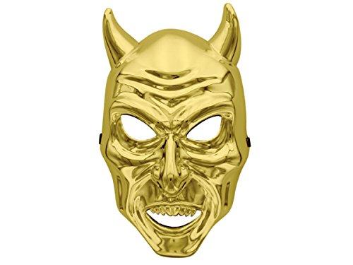 Maschera Teschio Diavolo Corna Scheletro plastica per Halloween Carnevale Paintball Orrore terrificante Skull Adulti Adolescenti scheletrica Cranio Devil Denti, Seleziona:MAS-37 Oro