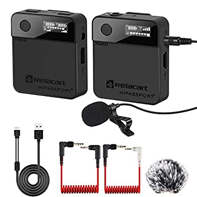 CAMOLO Wireless Microphones, 2.4G Compact Wireless Lavalier Microphone with Wind Muff, Microphone Wireless, Lavalier Microphone, Clip on Microphone, Wireless Microphones & Receiver, Microphone
