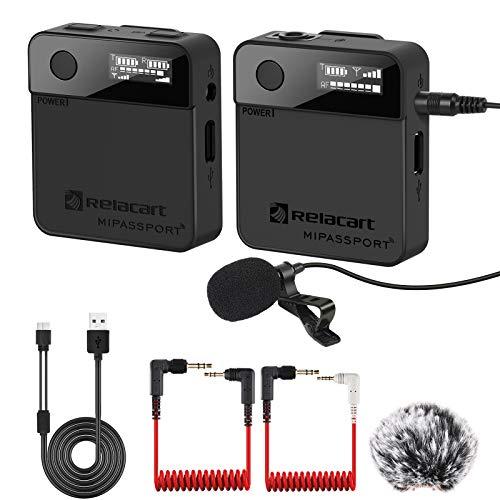 2,4 G Lavalier Funkmikrofon mit winddichter Muff 1 Empfänger 1 Sender, Wireless Reversmikrofon Kompatibel mit Kamera, Smartphones und Videokameras für Vlog-Aufnahme, Interview