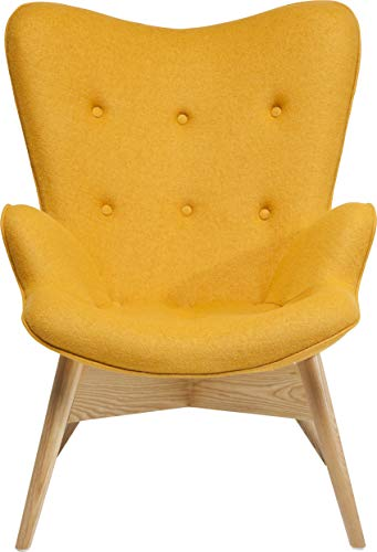 Sessel Angels Wings Yellow Econo, moderner TV Chillout Polstersessel mit Armlehne, Lounge XL Cocktailsessel im Retro-Design, gelb (H/B/T) 94x73x81cm