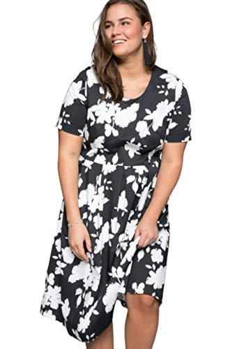 Sheego Damen Shape-Kleid mit floralem Muster schwarz Bedruckt, 48